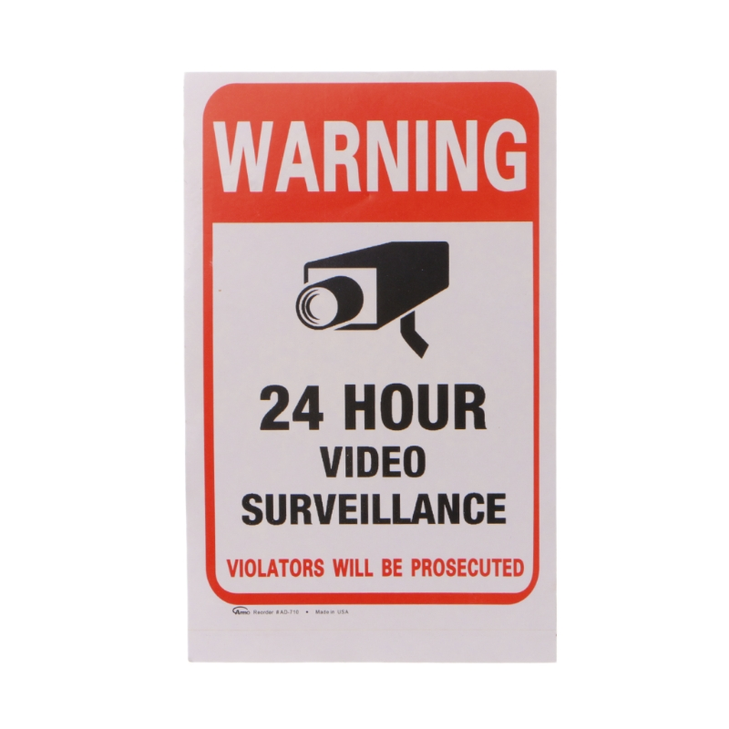 Surveillance Sign Security 24 Hour Monitor Camera Warning Stickers Sign 20*25cm