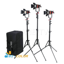 3 Pcs CAME TV Boltzen 55w Fresnel Focusable LED Bi Color Kit With Light Stands Led video light