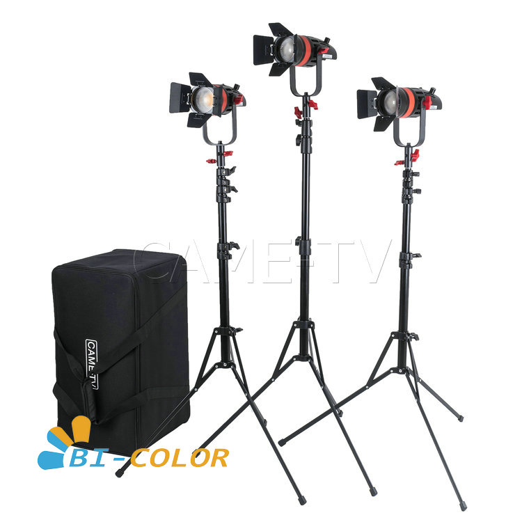 3 Pcs CAME TV Boltzen 55w Fresnel Focusable LED Bi Color Kit With Light Stands-in Photo Studio Accessories from Consumer Electronics
