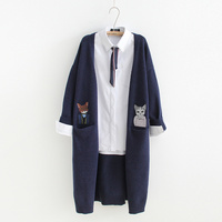 Double pocket cat embroidery Cardigan sweaters mori girl 2018 autumn winter