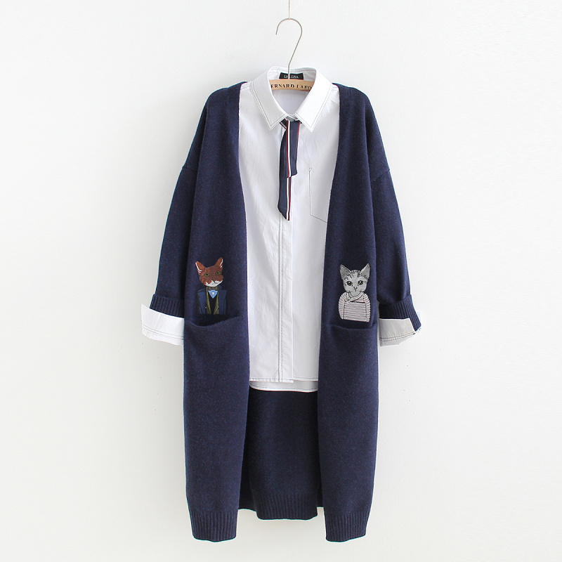 Double Pocket Cat Embroidery Cardigan Sweaters Mori Girl