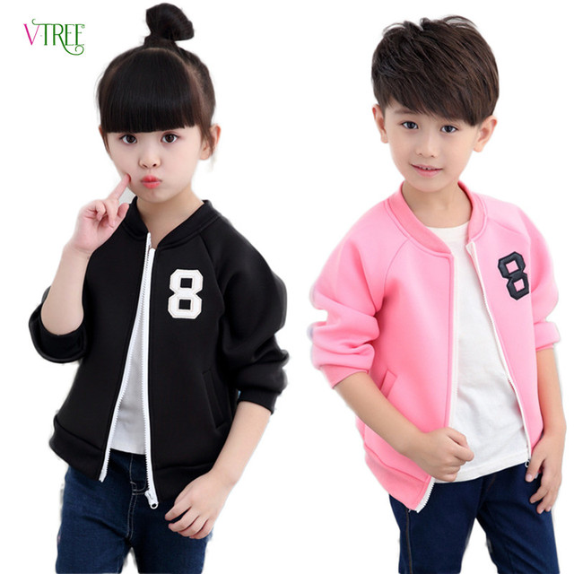 New baby boys girls outwear children jacket black pink teen casual sports coat for girl spring autumn boys cardigan 3-12 year