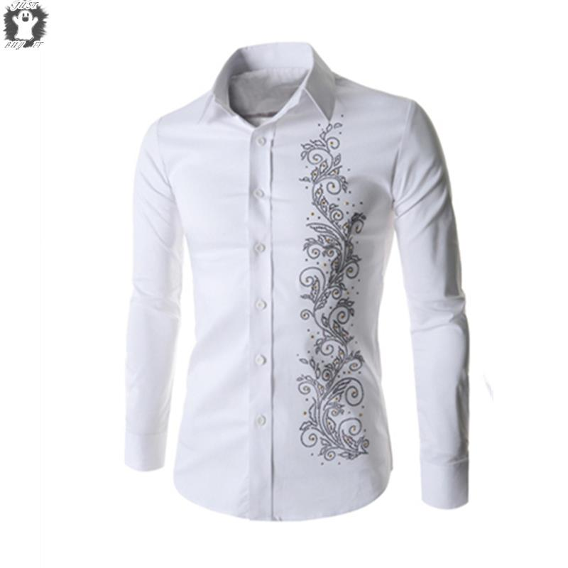 2018 Bee Embroidery Shirt Men Luxury Brand Design Mens Dress Shirts Long  Sleeve Slim Fit Chemise Homme Cotton Man Shirt 3xl From Pyramidflagshipsto,  ...