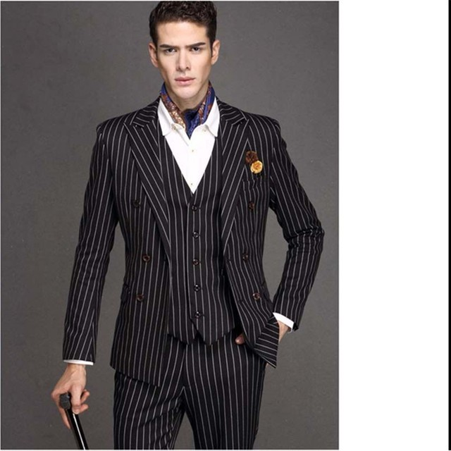 Classic Style Stripe Groom Tuxedos Groomsmen Men's Wedding Prom Suits Bridegroom (Jacket+Pants+Vest) K:1156