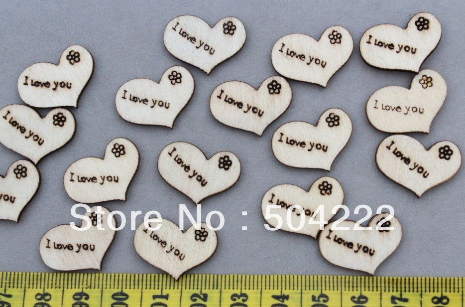 600 pcs of I love you hearts wood Wooden natural Pendants cabs Beads size 22mm D25