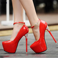 sapato feminino Fashion japanned leather metal hasp rhinestone 16cm ultra high thin heels round toe shoes woman Buckle pumps
