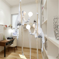 Juliyang Creative Design Resin Monkey Pendant Lamp Hemp Rope Hanging Light For Club Store Dining Room