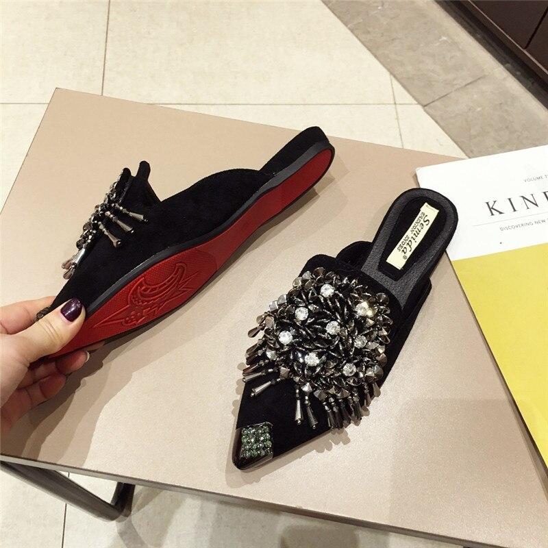 Brand Designer Crystal tassel Mules Women Flat Slipper 2019 Pointed Toe Casual Mules Women shoes fashion Outside Women Slides