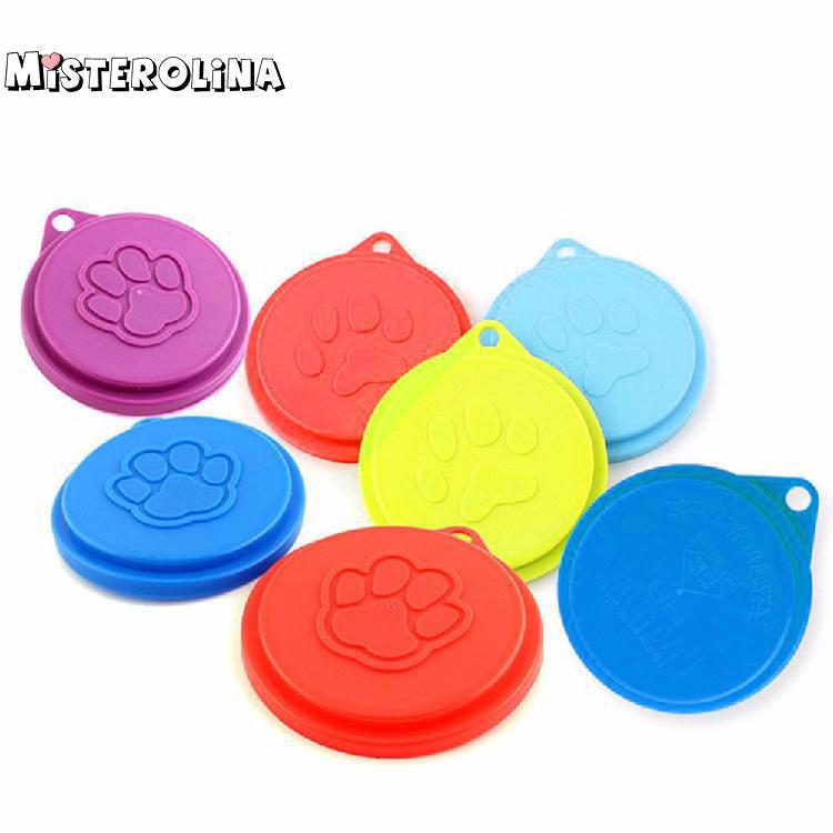 Portable Pet Dog Cat Food Storage Can Tin Cover Lid Top Cap Random Color Reusable Zdd3333