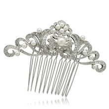Romantic Bridal Hair Accessories Wedding Hair Comb Rhinestone Crystal Simulated Pearls Flower Leaf Bridesmaid Head Jewelry