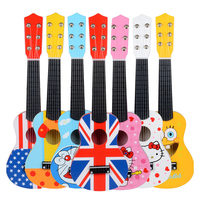 Wooden children's musical toys mini wooden small guitar can play 21 inch cartoon wooden musical instrument puzzle children's toy