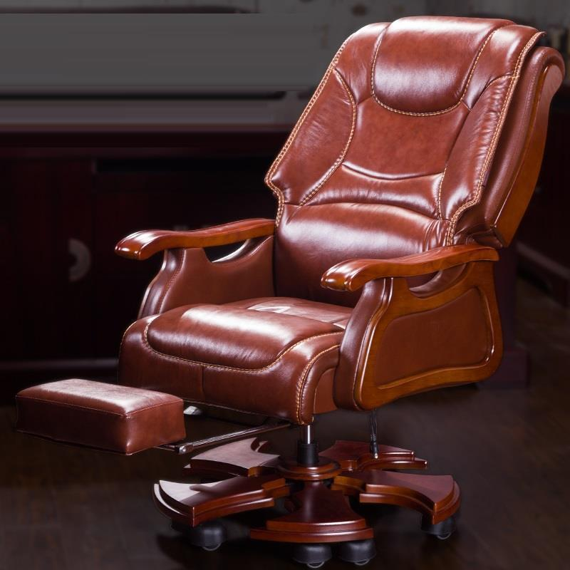 Boss leather wood swivel computer home lift office chair boss chair real leather computer chair home massage can lie in the leather chair solid wood armrest office chair 26
