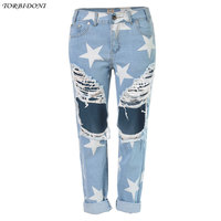 Casual Ripped Denim Jeans Ankle Length Boyfriend Jeans For Women Straight Loose Pants Star Printed Jeans