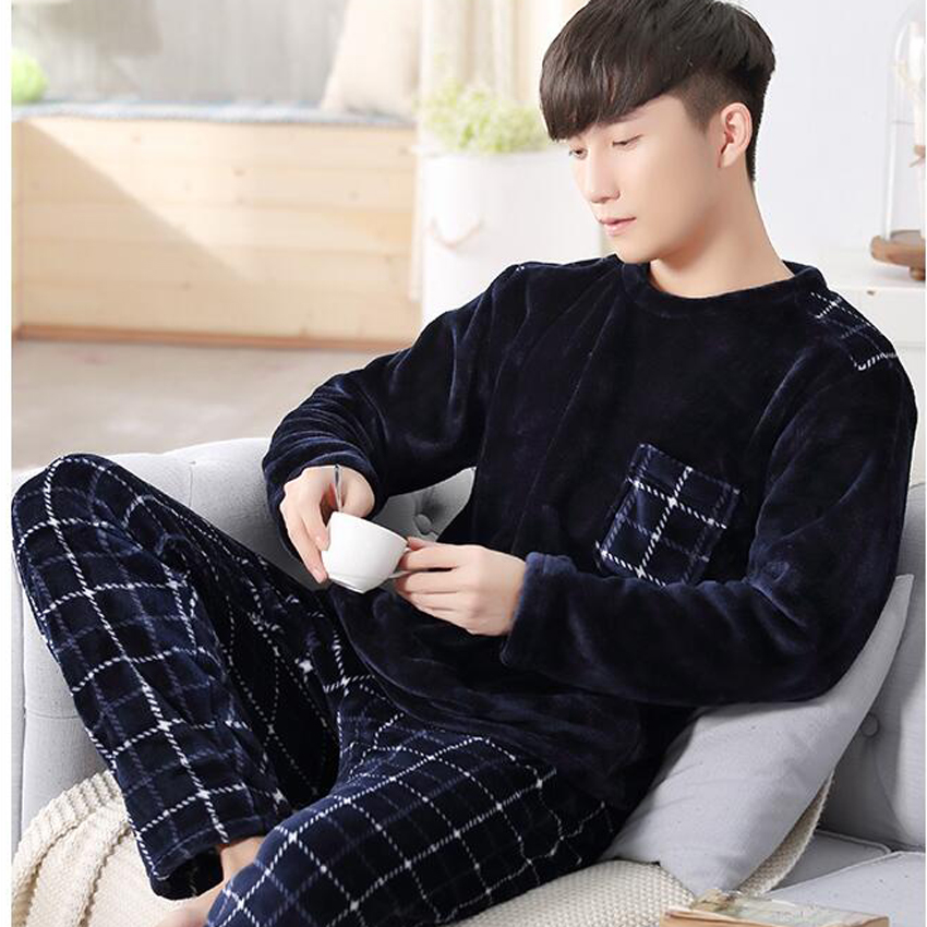 Clothing Pajamas-Set Sleepwear Winter Men's Flannel Casual Home Cartoon Round-Neck