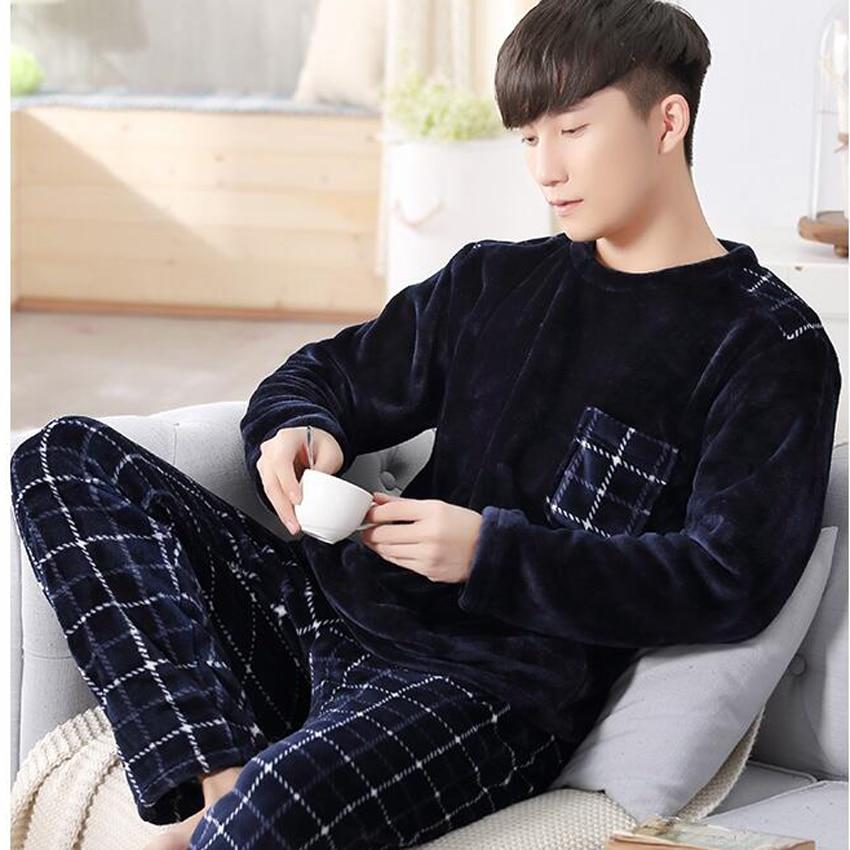 Men Flannel Pajamas Set Casual Home Clothing Winter Long Sleeve Round Neck Cartoon Men's Sleepwear Pyjamas Homme Nightclothes