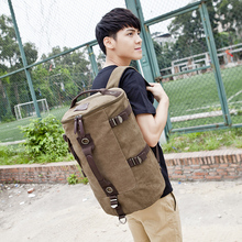 High Quality Men's Travel Bag Solid Zipper Men canvas Bag Men's Backpack bolsa masculina rucksack bucket