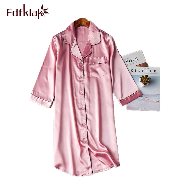 Fdfklak New silk satin night dress women summer   nightgowns   sleepwear nightdress lounge nightshirt ladies nightwear   sleepshirt