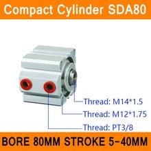 SDA80 Цилиндр Воздуха Компактный ПДД Серии Диаметр 80 мм Ход 5-40 мм Компактный Цилиндры Воздуха Двойного Действия Воздуха пневматический Цилиндр ISO