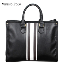 VIDENG POLO NEW Men's Handbags Business Briefcase Quality PU Leather Handbag for Men Black Brown Color Shoulder Travel Bags