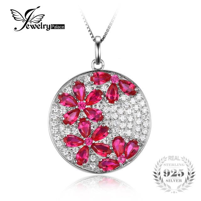 Jewelrypalace 4.5ct rubi criado pingente genuine 925 prata esterlina flor não inclui uma cadeia de jóias de casamento moda feminina