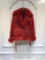 Новинка 2017 зимняя куртка для женщин, с мехом пальто парка овчины Пояса из натуральной кожи теплая натуральная шерсть Мех животных лайнер