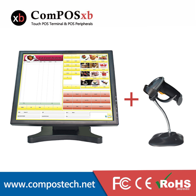 Special Price Good Quality 17 Inch Touch Screen Monitor With High Speed 1D Barcode Scanner For POS Point Of Sale