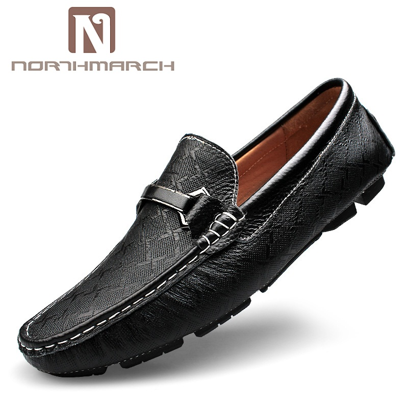 NORTHMARCH Genuine Leather Men Loafers Fashion Slip-On Driving Shoes Men Moccasin Boat Shoes Causal Flats Men Shoes Sapatos 2016 men s casual crocodile genuine leather boat shoes slip on velvet loafers moccasin fashion flat shoes men s loafer shoes new
