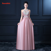 Pluse Size Red Beading Pleat Silk Long Evening Dresses 2015 Backless Halter Formal Dress Silm Evening