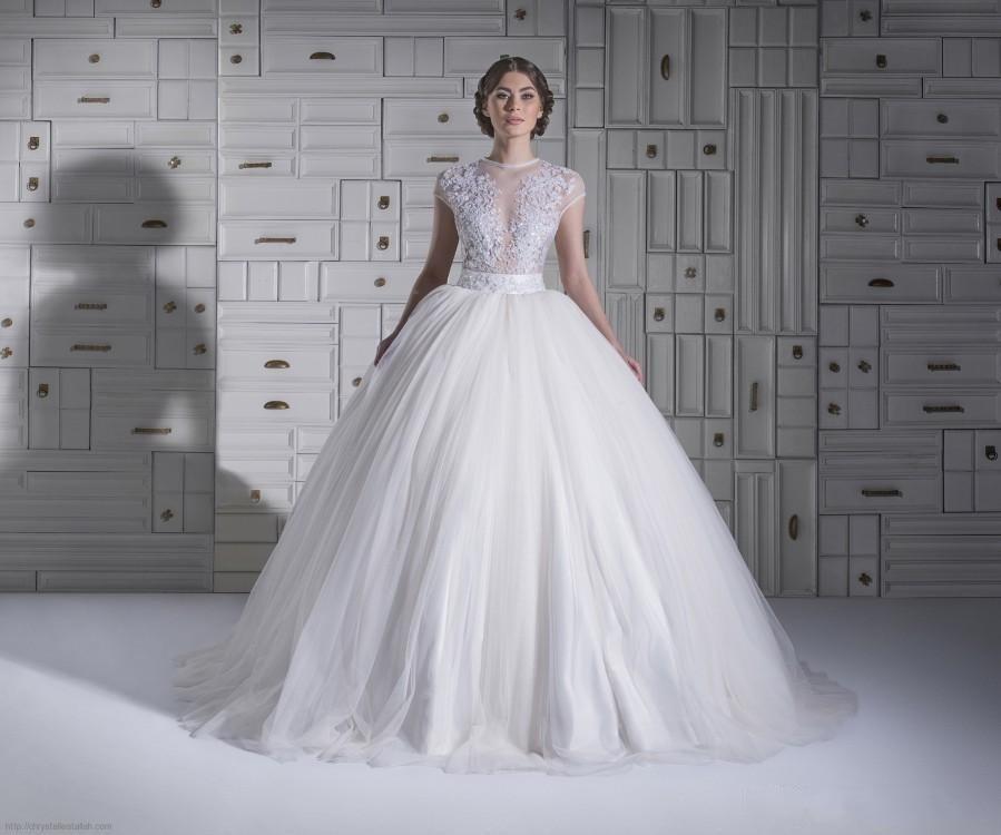 c1cbdbefc0 2016 Chrystelle Atallah balón vestido de boda vestidos blancos de Tulle  Beads apliques de encaje vestidos de novia de casquillo de la manga en  Vestidos de ...