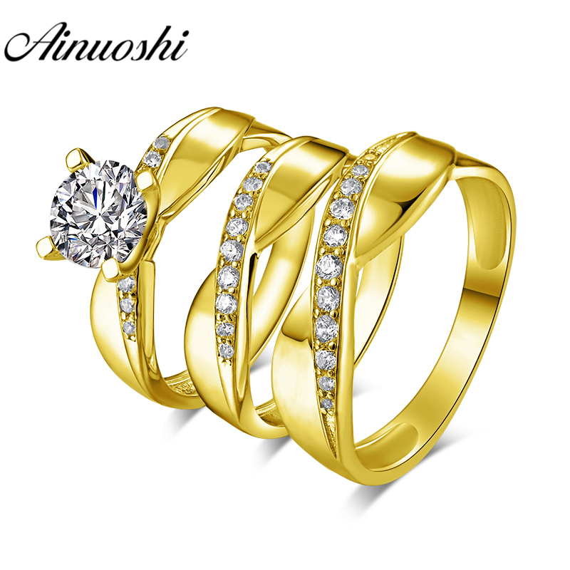 Real Silver 14k Yellow Gold Finish Men Women His Her Lab Diamond Trio Bridal Set