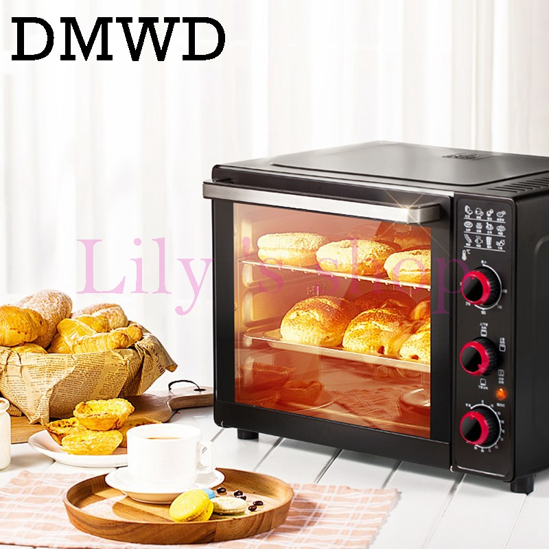 DMWD 33L Large household Electric <font><b>oven</b></font> Multifunction Pizza donuts cake Baking <font><b>Oven</b></font> with 120 Minutes Timer 4 heating tubes 220V