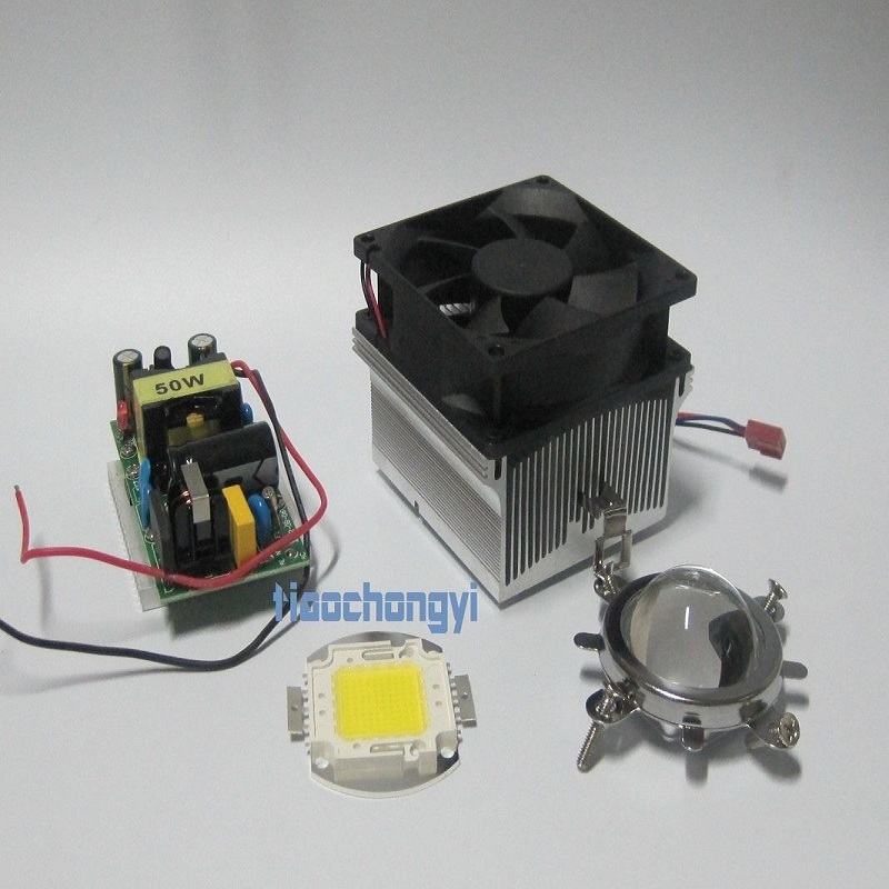 купить 50w led +50w LED Aluminium Heat Sink Cooling Fan+44mm Lens+Reflector Bracket недорого