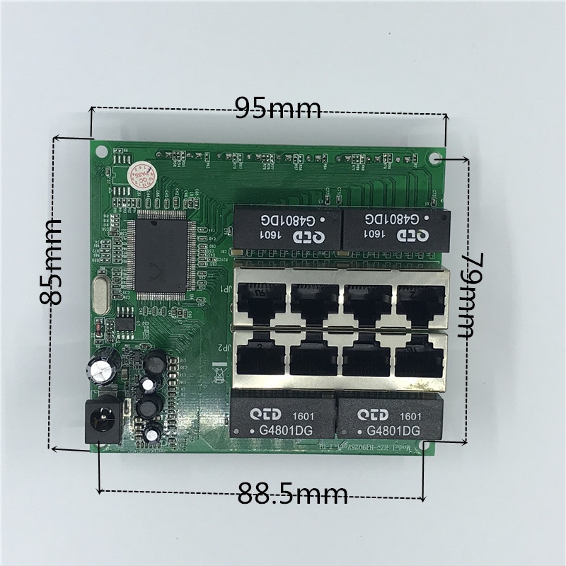 Image 3 - OEM PBC 8 Port Gigabit Ethernet Switch 8 Port met 8 pin way header 10/100/1000 m hub 8way power pin Pcb board OEM schroef gat-in Network Switches from Computer & Office