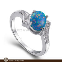 New! Vintage in Fashion Jewelry Blue Fire Opal With Small Bling White SWA element Stone 925 Sterling Silver women's Ring RP0030