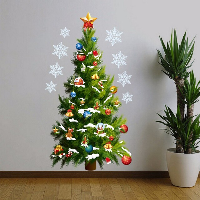 free shipping large size diy green christmas tree wall sticker pvc vinyl wall painting affixed to - How To Paint A Christmas Tree