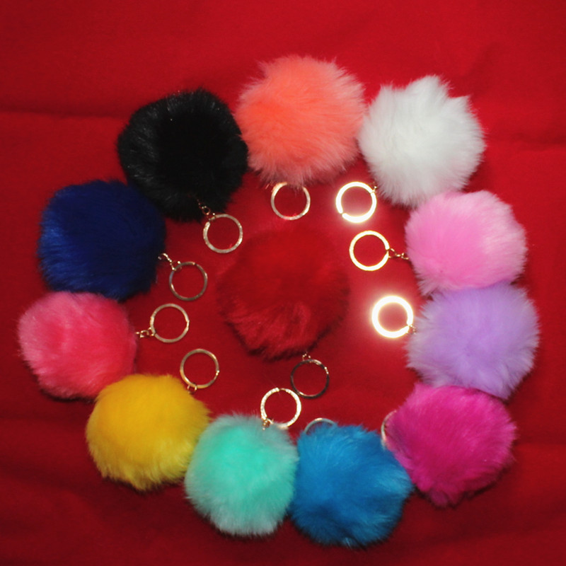 12 Color Fake Rabbit Fox Fur Brand Bag Keychain Pom Pon Car Keyring  8cm Golden Keychain Fake Fur Brand Charms Pompom  Key Rings