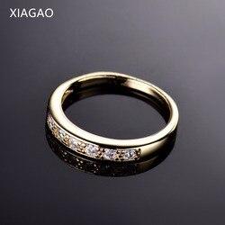 XIAGAO Basit Altın Renk Yüzükler Kadınlar için Düğün Kübik Zirkonya Kadın Parmak Yüzük Takı Hediye Ringen Anel Bayanlar XGR182