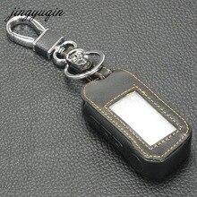Jingyuqin A93 A63 Двухстороннее автосигнализации кожаный чехол ключ для российских сигнализации StarLine A93/A63 брелок случае дистанционного контроллер