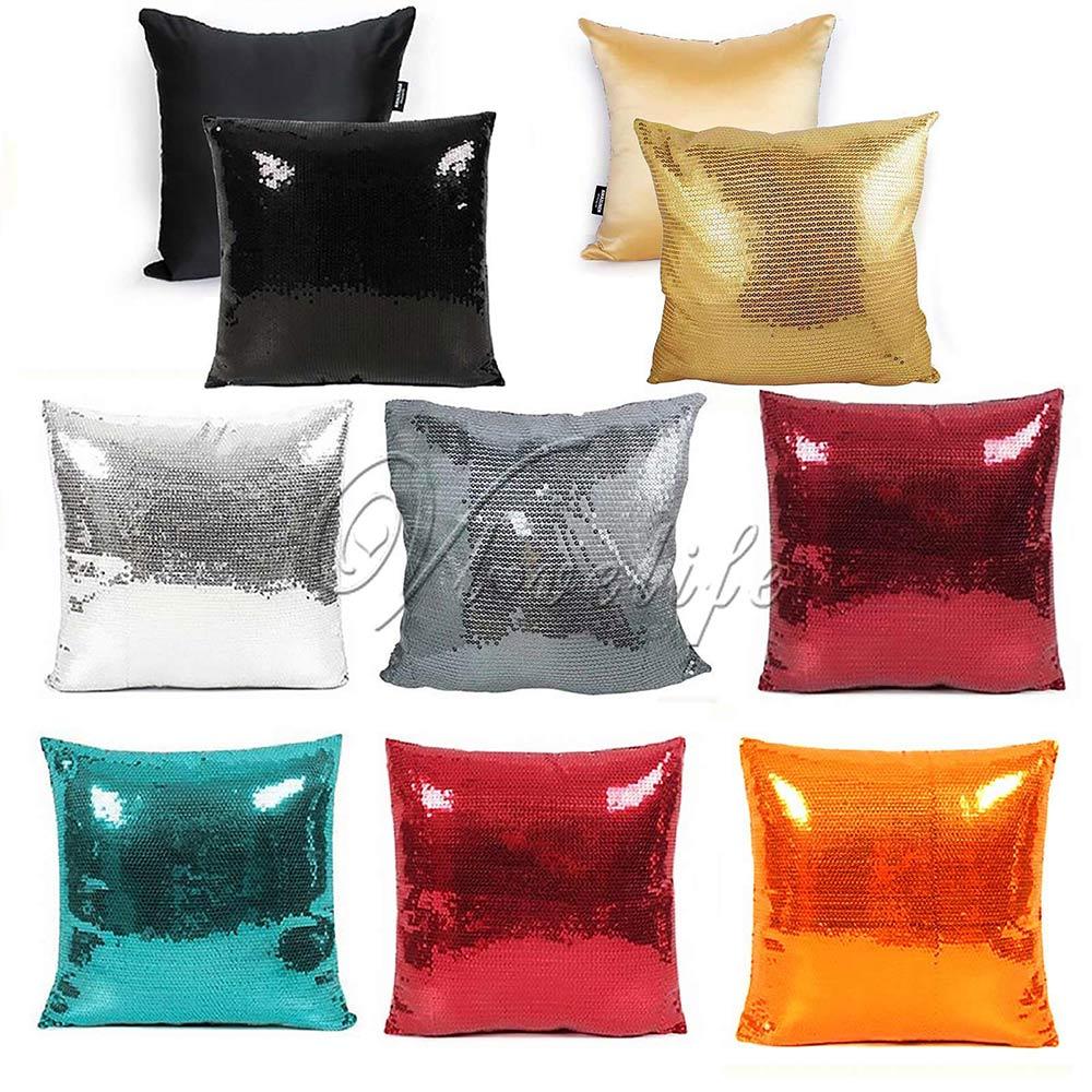 1pc 43cmx43cm Solid Color Glitter Sequin Pillowcase White