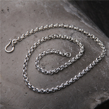 S925 Sterling Silver Long Sweater Chain Men And Women Retro Thai Silver Necklaces O Shaped Chain 5mm To 6mm