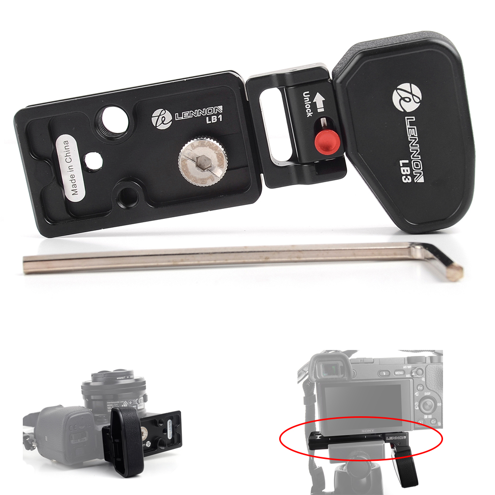 Lennon Quick Release L Plate Bracket Grip for Sony Mirrorless Camera A7II A7RII A7RIII A7SII A9 with 1/4 & 3/8 Thread Hole