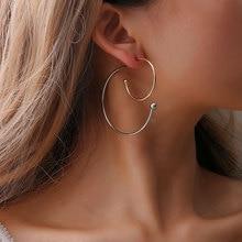 Women Trendy Ethnic Zinc Alloy Silver Gold Color Hoop Geometric Earrings