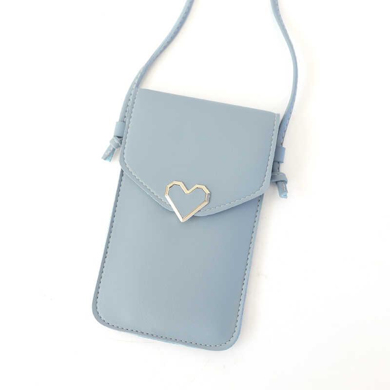 Для женщин сумка для телефонов 2018 Для женщин портмоне Cross сумка для девочек симпатичный телефон сумка Мини Сердце типа Hasp карман для мобильного телефона