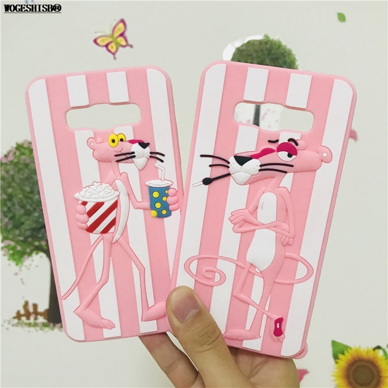 J1mini Mini J105 3D Pink Panther Case for Samsung Galaxy J1 J120 J5 J7 A7 2016 2017 Grand Prime J2 Pro 2018 Soft Silicone Cover