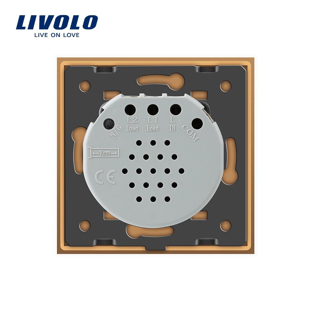 Livolo EU Standard Wall Switch 2 Way Control Switch, Golden Glass ...