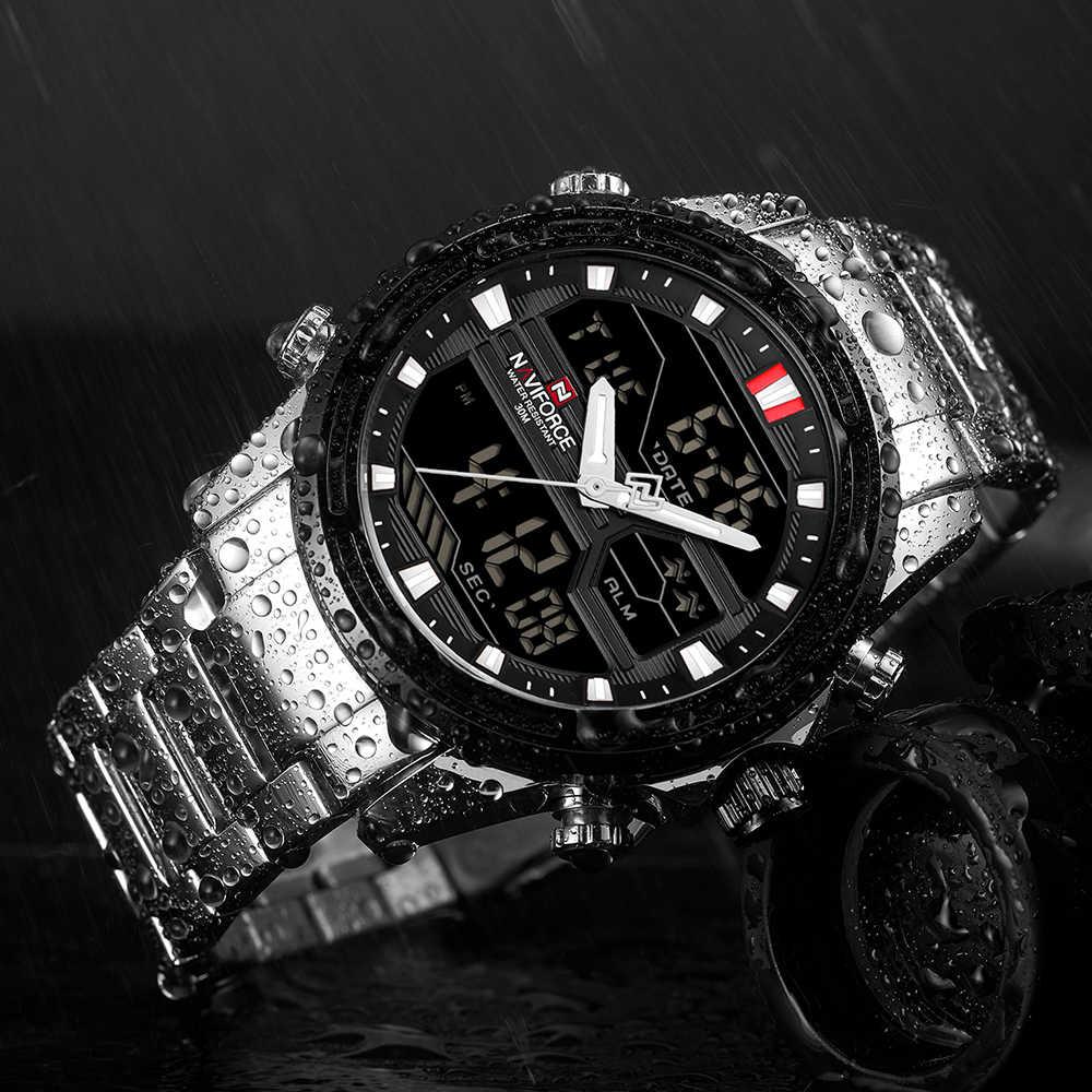 Nuevos relojes de lujo para hombre, relojes deportivos de marca Naviforce LED para hombre, reloj de cuarzo completo, resistente al agua, reloj para hombre