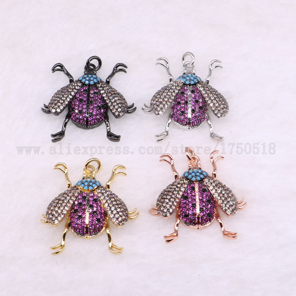 5 pieces bugs insects pendants for lady charm small size bee fly jewelry making micro paved mix color pendants pets beads 3036