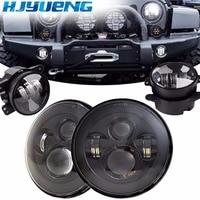 HJYUENG For Jeep Wrangler Headlights 4 LED Fog Light 2X H4 7INCH Round Headlamp H13 LED