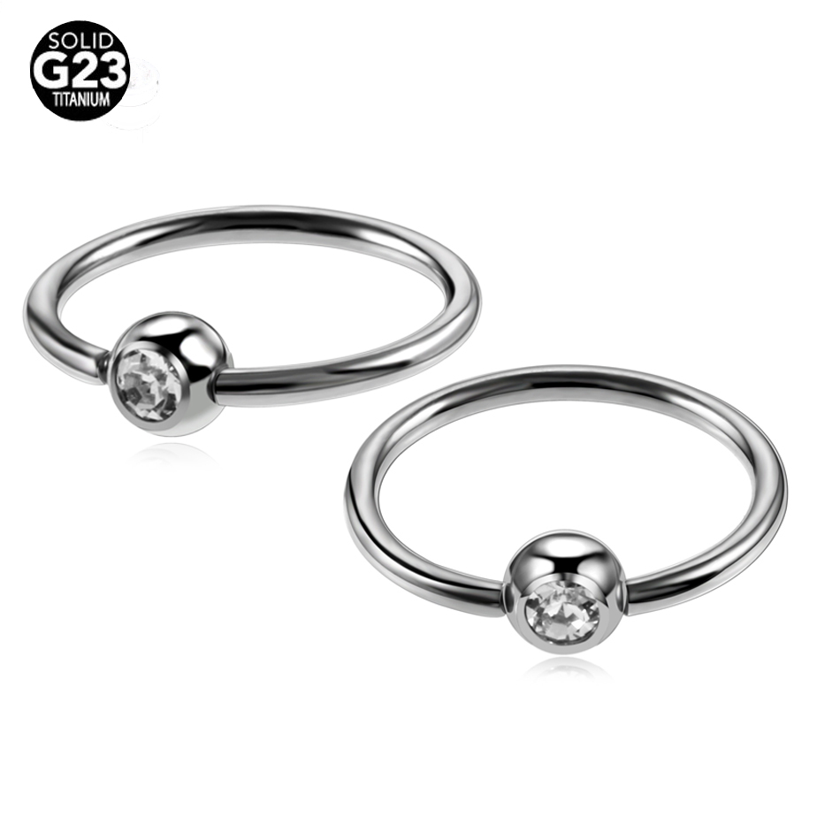 Lot 100% Titanium Nose Rings Piercing Nose Clip Gem Ball Captive Bead  Rings