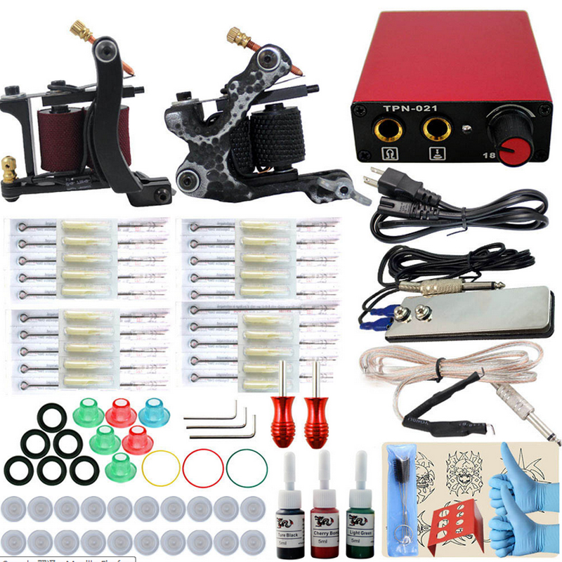 Professional Complete Tattoo kits 10 wrap coils 2 guns machine 3 colors ink tattoo sets power supply disposable tattoo needles 1 sets complete 4 gun tattoo kits professional machine equipment teaching cd ink needles power supply for beginners body art